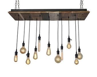 Reclaimed Wood Light Fixture - Pendant Chandelier, Kitchen Island Lighting