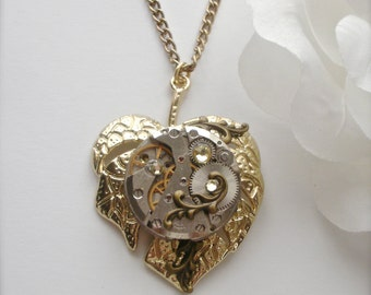 Steampunk Leaf Necklace, Ruby Jeweled Watch Movement, Leaf Necklace, Swarovski Crystal Steampunk Gears Leaf Pendant, Steampunk Jewelry Gift