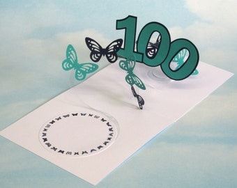 100th Birthday Card Butterfly Spiral Pop Up - Blue and Green Butterfly 3D Card – 100th Birthday Spiral Pop Up Card