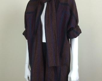 chevron striped cloak coat w/ neck scarf 70s