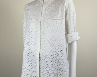 white flower lace oversized boxy blouse 90's