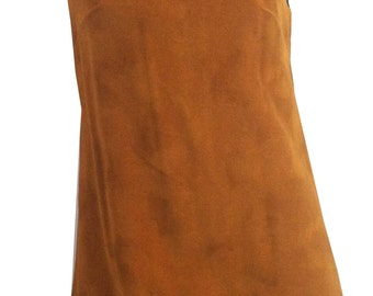 vintage 1970s Faux Suede Mini Dress Tunic Young Edwardian XS
