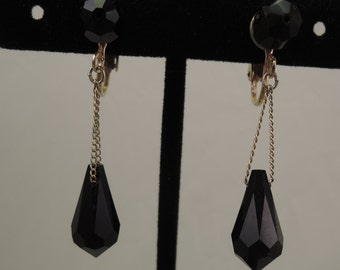 Faceted Black Glass Drop Clip Earrings 1950-60s
