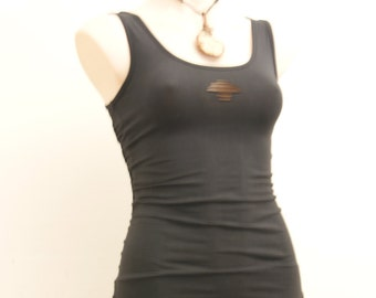Black Singlet with Woven Back Detail.