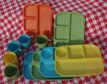 11 pc. Picnic Cups and Divided Trays   Made by Colonial Plastics Mfg Cleveland Ohio