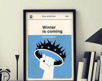 GAME OF THRONES Inspired Poster, art print movie poster, retro movie poster, winter is coming, vintage, retro home