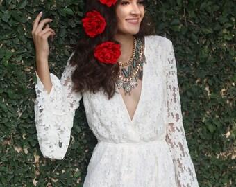 Red Rose Fascinator Clip (Clips Fascinator Hair Piece Boho Wedding Bridesmaid Bridal Headpiece Bride Music Festival)