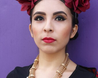 Wine Red Flower Crown Headband (Costume Day of the Dead Headpiece Mexican Headdress Goth Gothic Rave Music Festival)