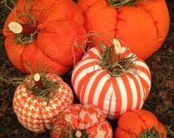Bright Orange Fabric Pumpkins, set of 6