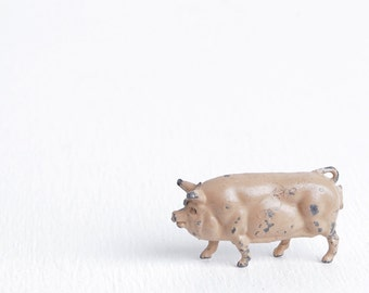 Vintage Lead Pink Pig Figurine, Farm Animals, Antique Toys