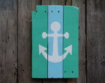 Beach anchor pallet sign, distressed hand-painted rustic reclaimed wood beach art anchor home decor nautical recycled wood blue green white