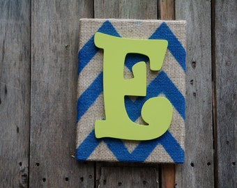Blue chevron canvas with a yellow letter E, burlap canvas art canvas wall art chevron wood letter blue chevron canvas home decor