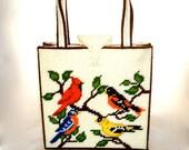 Vintage 60s Hand Made Needle Point Structured Box Purse White w/ Colorful Birds Design Duel Handle Handbag Medium/Large