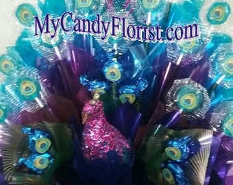 PEACOCK CENTERPIECE Candy Bouquet - Extra Large so it's Perfect for Rehearsal Dinner, Wedding, Shower, Birthday Event, Candy Buffet Table!