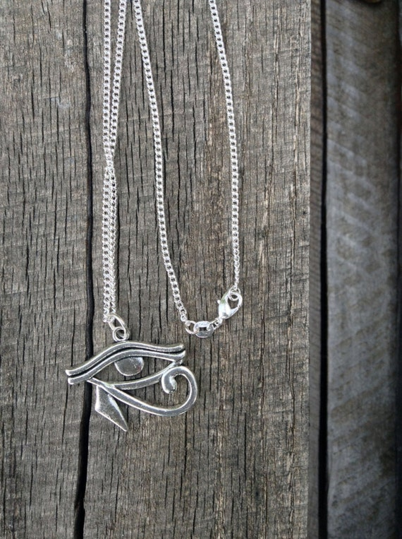 Men's Eye of Horus Necklace Eye Charm Antique Tibetan silver Egyptian Eye of Horus Charm Pendant On 30 Inch 925 Sterling Silver Chain CM9252
