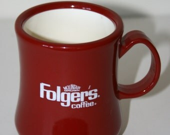 Vintage 1970's Folgers Coffee Mug, Red & White Plastic, Continental Plastics of Oklahoma, Retro Folgers Coffee Advertising Coffee Cup