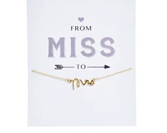 GOLD ~ Gift for Bride ~ Mrs Charm Necklace ~ Card for Bride