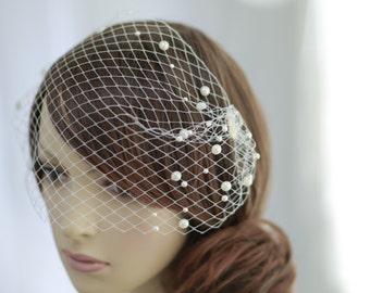 Pearl beads  bandeau birdcage veil----v604