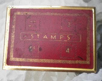 Vintage 50s Postage Stamp Box/Airmail/3 cent stamp/Antique Stamp