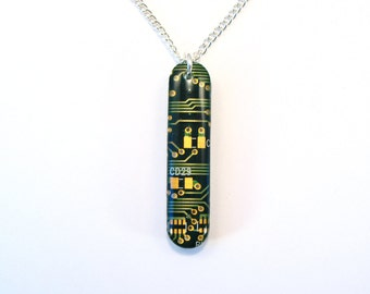 Recycled Gold & Green Circuit Board Pendant - Geek Necklace - Computer Pendant - 40mm x 9mm