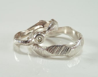 Wedding rings, wedding ring set, sterling silver with diamond, WAVES - handmade by SILVERLOUNGE