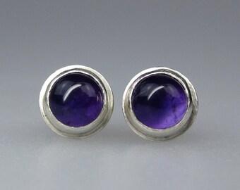 Sterling Silver Amethyst Stud Earrings | 6mm Purple Amethyst Earrings | February Birthstone Earring Studs | Made to Order Gemstone Earrings