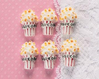 6 Pcs Popcorn Bucket Cabochons - 24x16mm