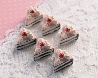 6 Pcs 3D Chocolate Layer Cake Cabochons - 16x15mm