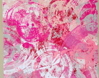 Abstract Pink Art Geometric Painting Pink Gray Painting Acrylic Pink Canvas Original Painting Large Pink Painting Nursery Art  24x24 canvas