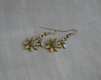 Sunflower Earrings. Bronze Earrings. Metal Earrings. Boho Earrings. Gift For Her. Gift Idea. Gift Under 15 Dollar. Summer Earrings.