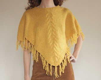 70's Yellow poncho, wool hand knitted with fringe, festival fashion
