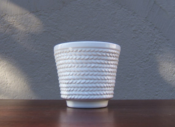 Small White Vintage Ceramic Planter Plant Pot By