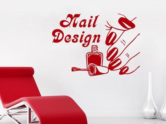 Wall Decals Beauty Salon Nail Design Nail Polish Red Lacquer