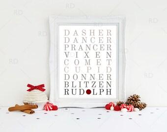 Reindeer Names Art Printable / Rudolph wall art / Reindeer Names Subway Art / Christmas Art / Reindeer Names Printable / Christmas Printable