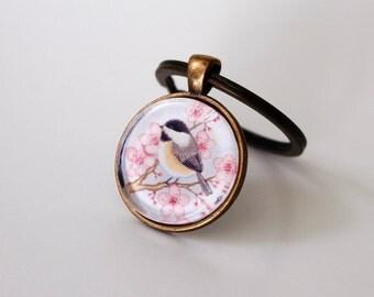 Bird keychain. Chickadee keychain. Gift for women her. Cute watercolor bird art glass keychain. Bird lover gift. Whimsical bird keyring.