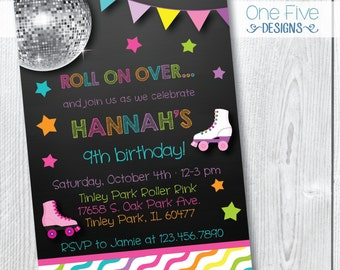 Roller Skating Birthday Party Invitation for Girls - Printable (5x7)
