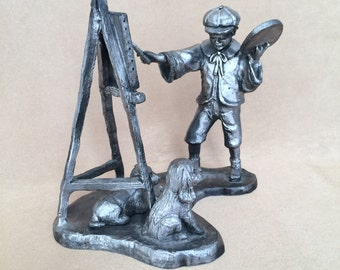Michael Ricker, Pewter Figurine, Artist statue, Artist with Easel, Boy and Dog, Pewter Collectible, Hand Crafted, Pewter Statue, Signed Art