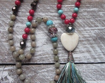 long beaded tassel necklace green Aventurine red jade blue & white turquoise Heart stone country chic bohemian long beaded tassel  necklace