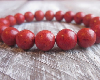 sponge coral beads bohemian stretch  bracelet