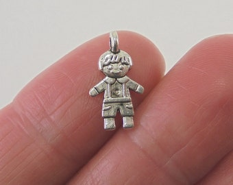 10 Doll or Little Boy charms, 16x9mm, antique silver finish