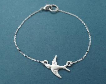 Small, Bird, Gold, Silver, Bracelet, Bird, Bracelet, Silver, Bird, Jewelry