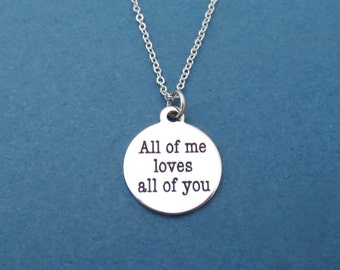 Love, Necklace, All of me loves all of you, John, Legend, All Of Me, Lyrics, John Legend, Message, Necklace, Gift, Accessories, Jewelry