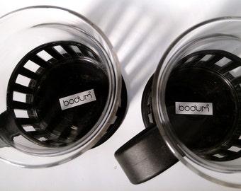Pair of Bodum Glass Coffee / Tea Mugs with Caged Acrylic Holders