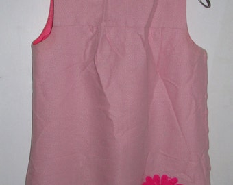 Child's Pink Flower Smock Dress