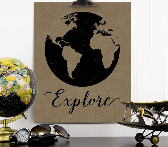 Explore Print Vintage Travel Decor Airplane Nursery Decor