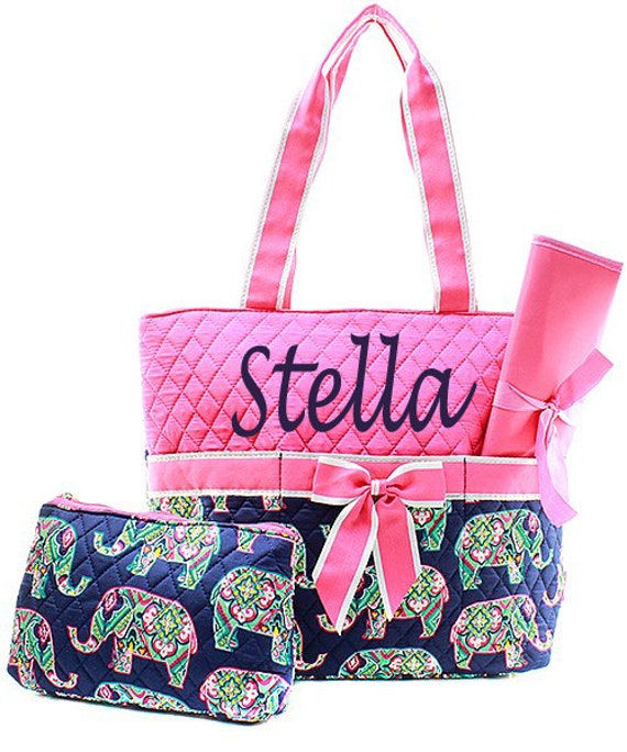 monogram elephant diaper bag personalized pink by. Black Bedroom Furniture Sets. Home Design Ideas