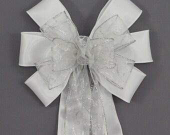 Silver Glitter Swirl White Wedding Pew Bow - Church Pew Decorations, Wedding Aisle Decorations, Wedding Ceremony Bow, Wedding Chair Bows
