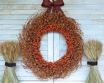 Orange Berry Wreath - Fall Wreath - Thanksgiving Wreath - Halloween Wreath - Berry Wreath - Fall Door Decor - Autumn Wreath - Door Wreath