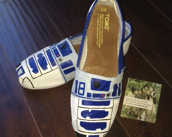 Custom Hand Painted Star Wars R2-D2 TOMS Shoes