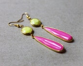 """Neon Jewelry, Hot Pink Yellow, Summer Accessory, Lightweight Dangle Earrings, Teenage Girl Gift, Gold Fish Hook Earrings, hang about 3"""""""